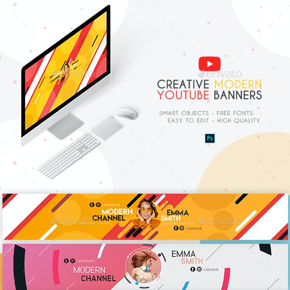 4 Modern YouTube Banners
