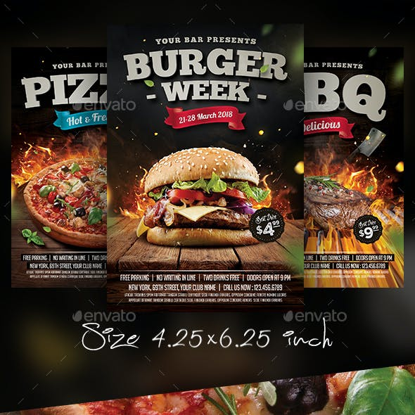 Burger Steak Pizza Flyer Bundle