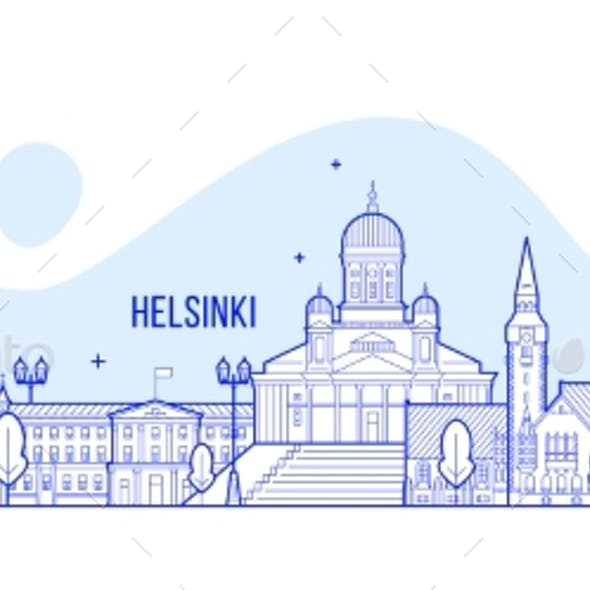 Helsinki Skyline Finland City Buildings Vector