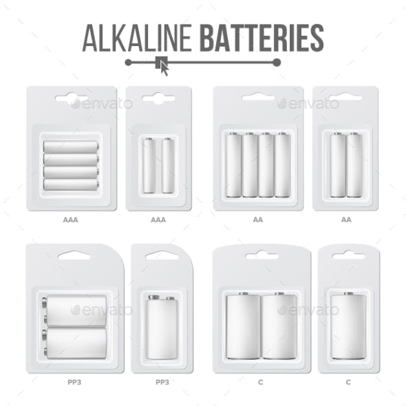 Batteries Packed Set Vector