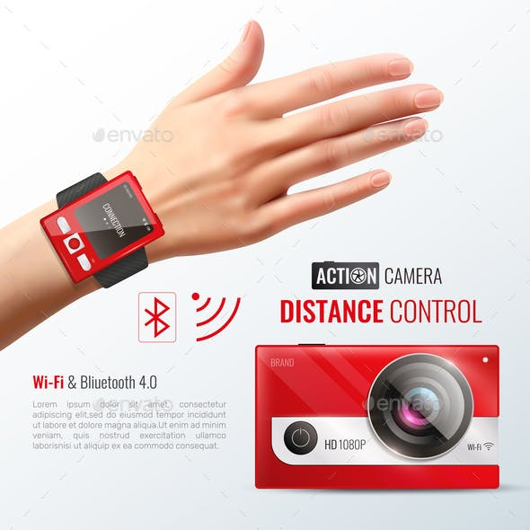 Action Camera Realistic Poster