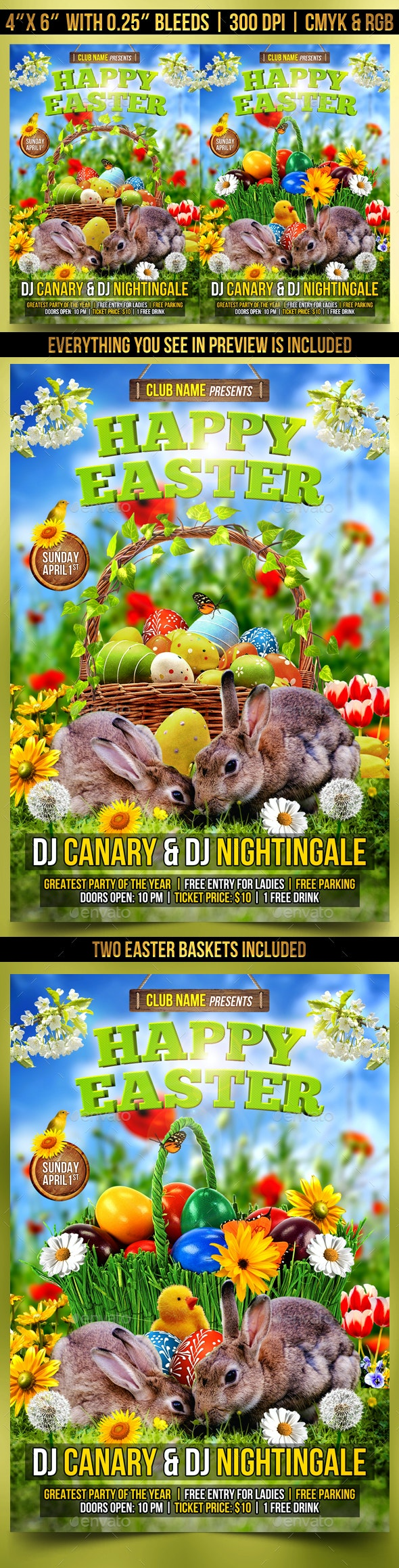 Happy Easter Flyer Template - Clubs & Parties Events