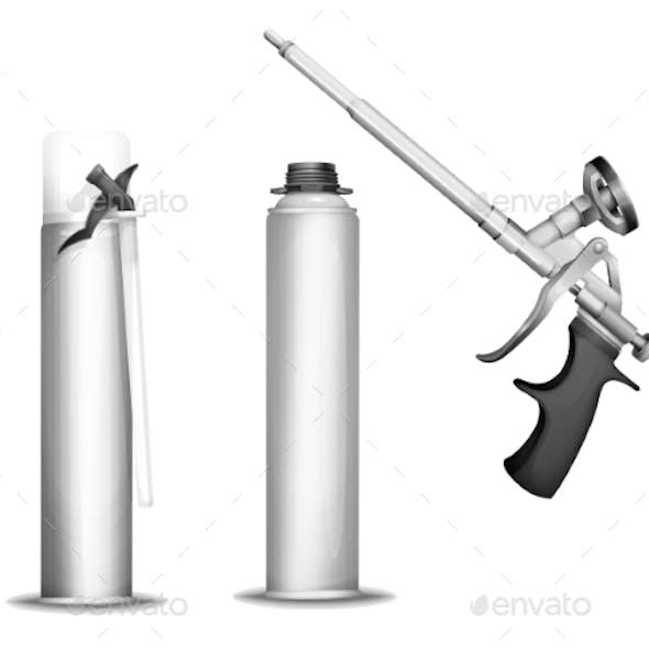 Construction Foam Bottle Vector