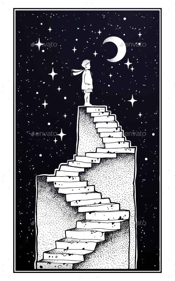 Abandoned Ruin Stairway with a Boy Looking at Moon