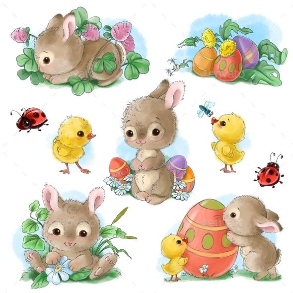 Cute Bunny Easter Sticker Clipart Set in Vintage Watercolor Style