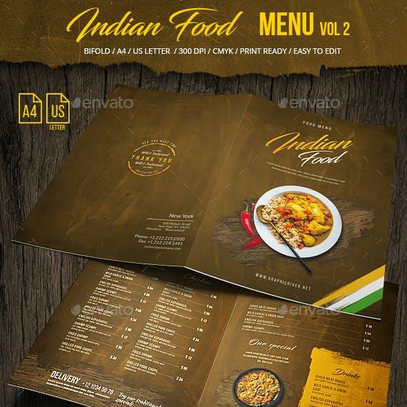Indian Food Menu A4 & US Letter - Bifold -  Vol 2