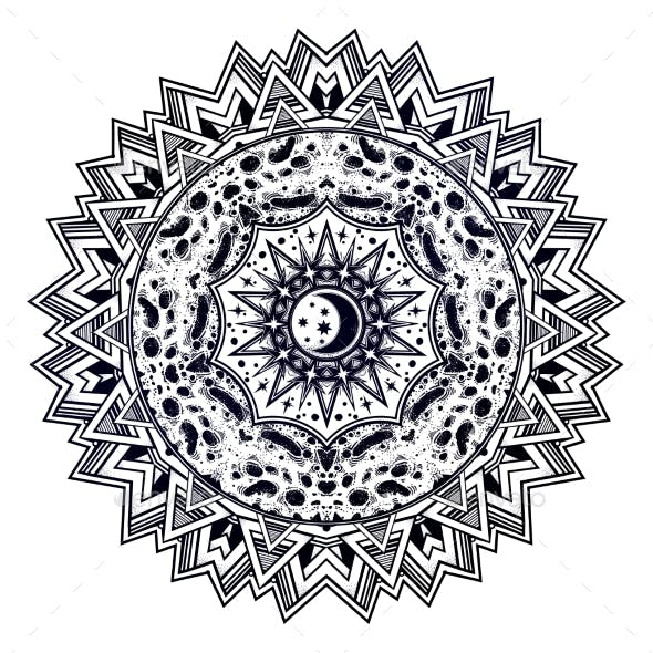 Abstract Space Sacred Geometry Mandala with Moon.