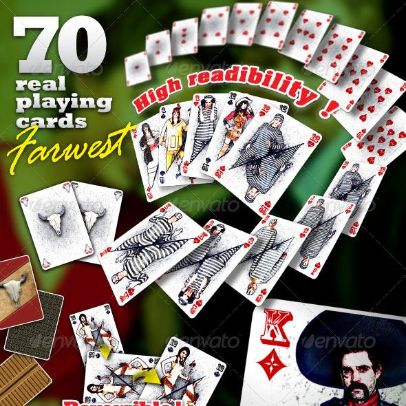 Farwest Set : 70 Real Playing Cards for Gaming