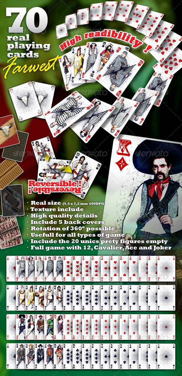 Farwest Set : 70 Real Playing Cards for Gaming - Sprites Game Assets