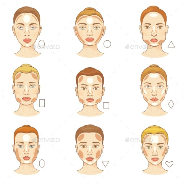 Woman Face Type Vector Female Character Portrait
