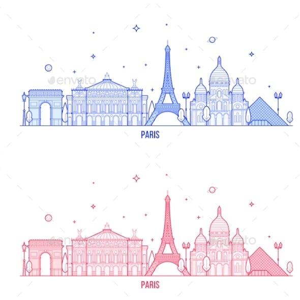 Paris Skyline France City Notable Buildings Vector