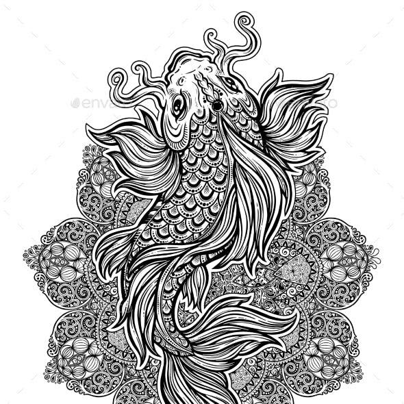 Koi Carp Fish with Ornate Decor Mandala