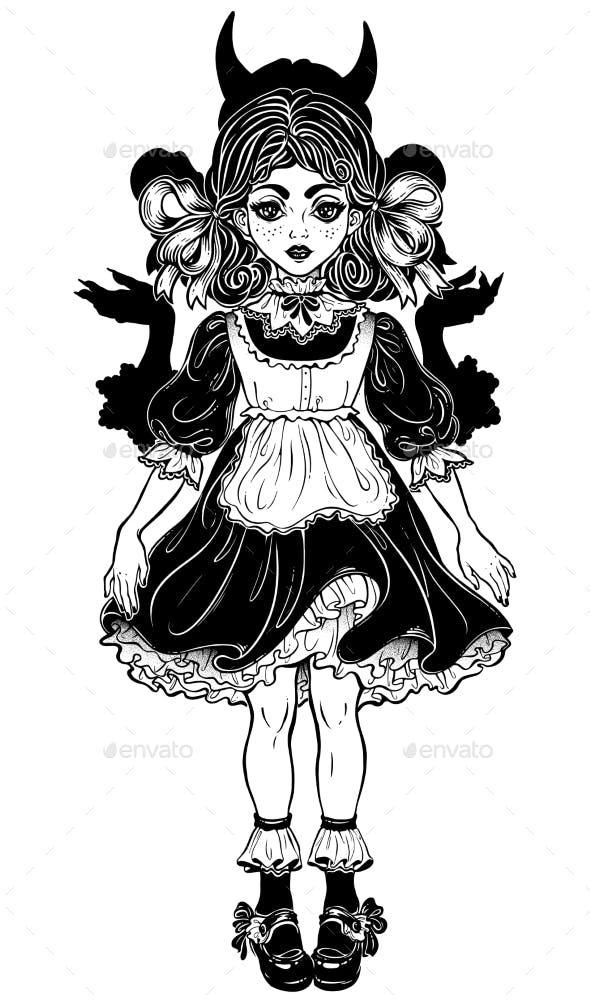 Evil Devil in Disguise as Little Girl or a Doll