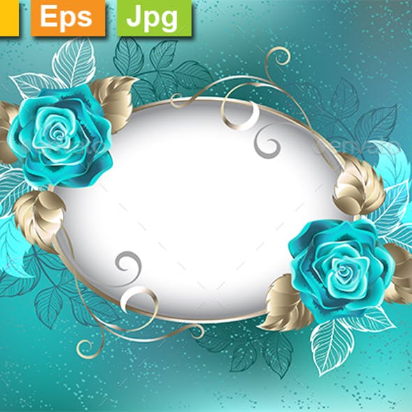 Oval Banner with Turquoise Roses