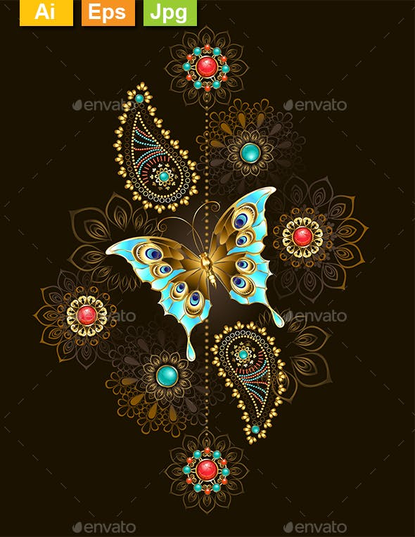 Pattern with Turquoise Butterfly