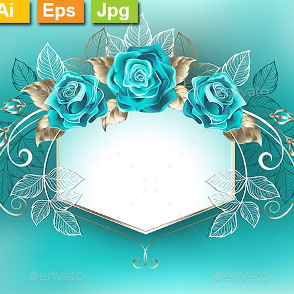 White Banner with Turquoise Roses
