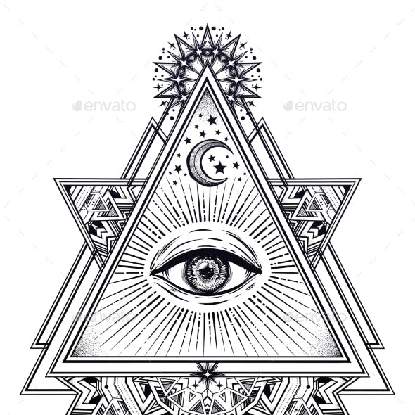 Triangle Composition with Sacred Geometry Eye.