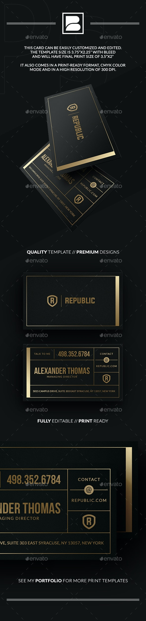 Gold And Black Business Card - Retro/Vintage Business Cards