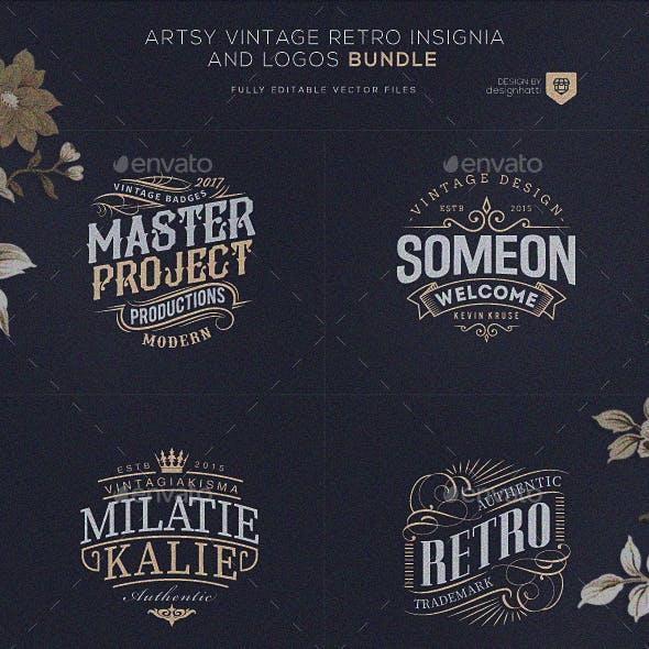 Artsy Vintage Retro Insignia and Logos Bundle