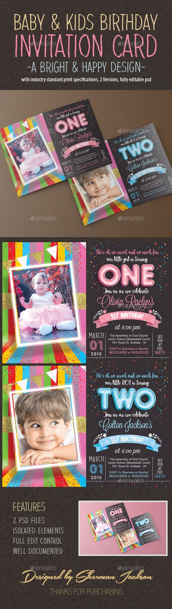 Kids Birthday Invitation Card - Invitations Cards & Invites