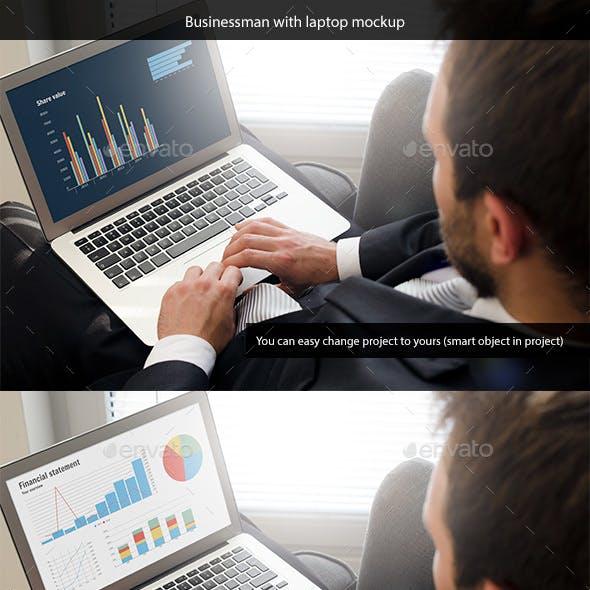 Businessman with Laptop Mockup