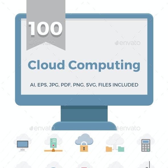100 Cloud Computing Technology Color Vector Icons Set