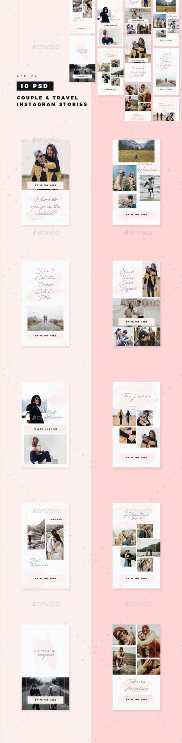 Couple & Travel Instagram Stories - Banners & Ads Web Elements