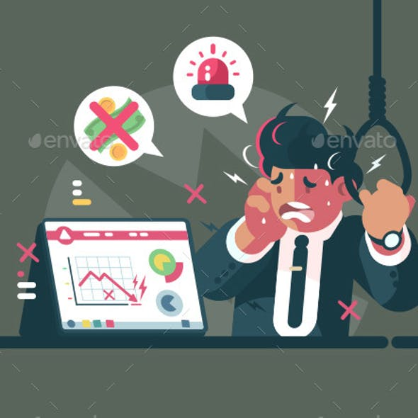 Trader in Panic and Anxiety