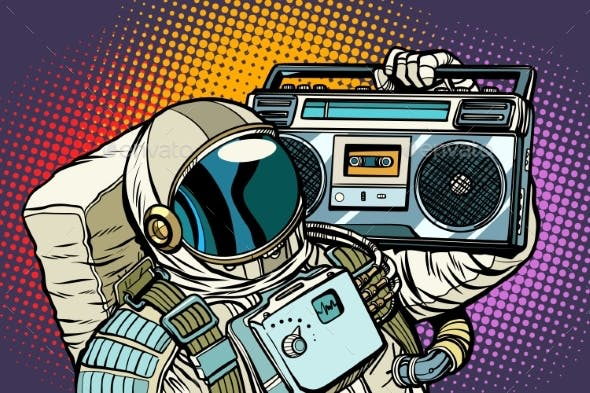 Astronaut with Boombox