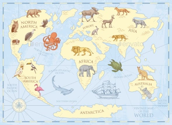 Vintage World Map with Wild Animals and Mountains