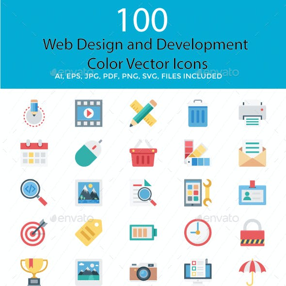 100 Web Design and Development Vector Icons