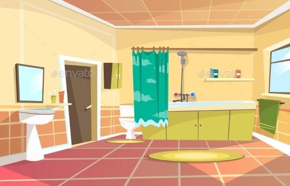 Vector Cartoon Bathroom Interior Background By Vectorpouch Graphicriver