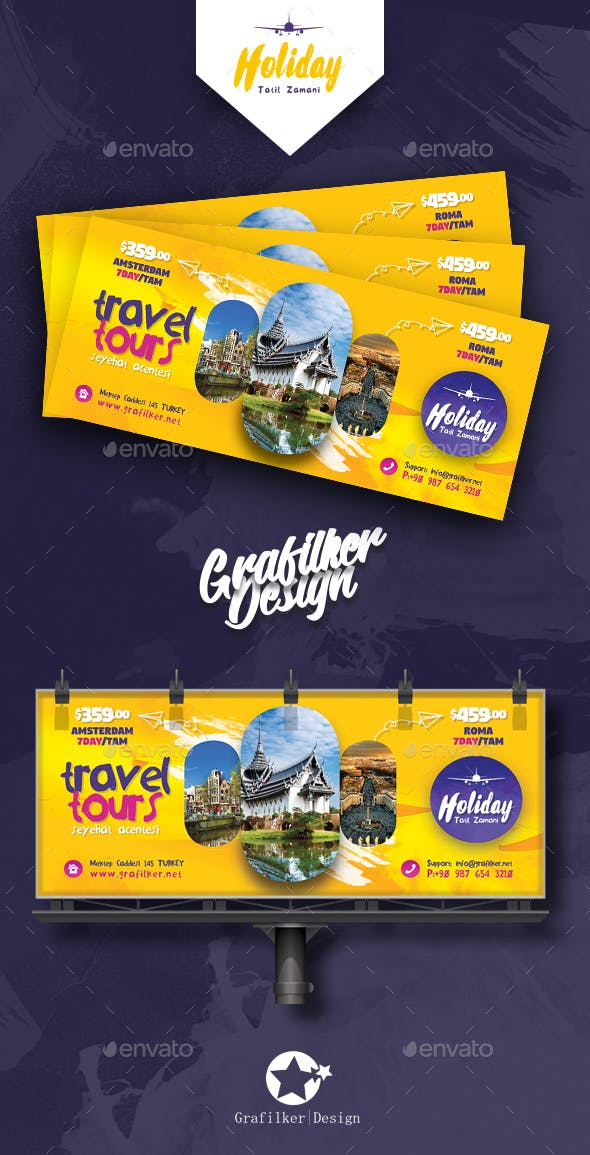 Travel Tours Billboard Templates