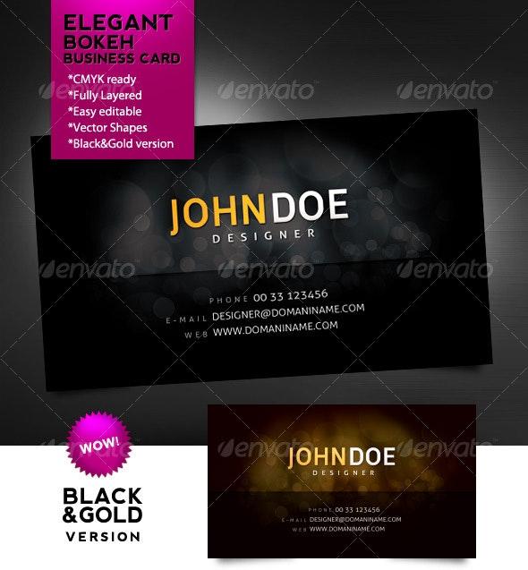 Elegant Bokeh Business Card - Black & Gold - Creative Business Cards
