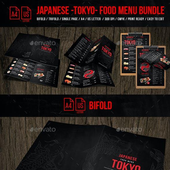 Japanese Tokyo Food Menu Bundle - A4 & US Letter Formats