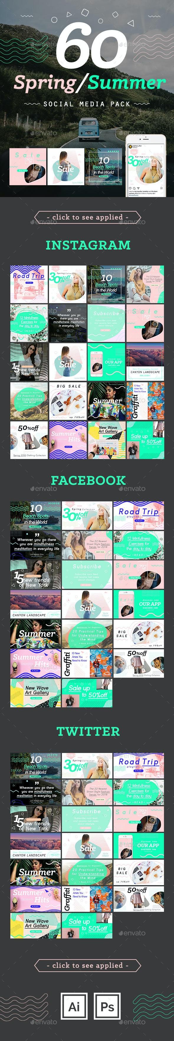 Spring/Summer Social Media Template Pack - Social Media Web Elements