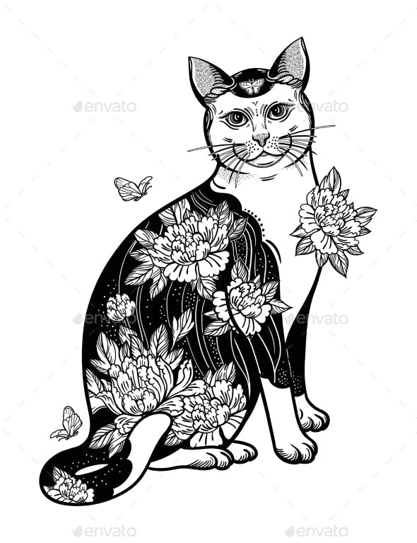 Folklore Cat with Flowers and Butterfly Tattoo