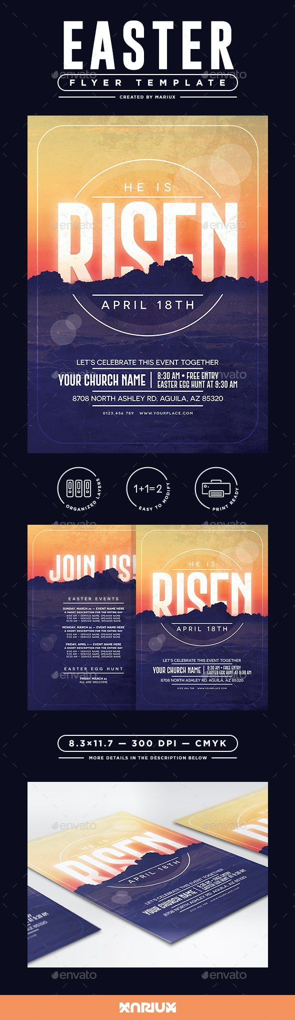He is Risen Easter Flyer/Poster - Events Flyers