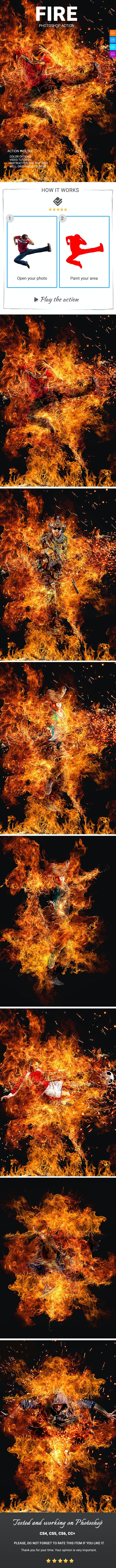 Fire Photoshop Action - Photo Effects Actions
