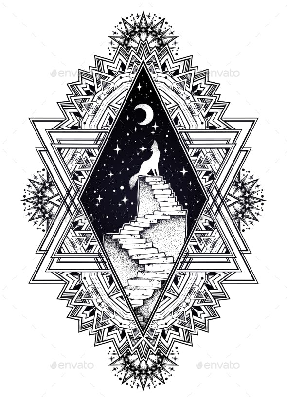 Decorative Ornate Frame, Stairway To the Sky, Wolf