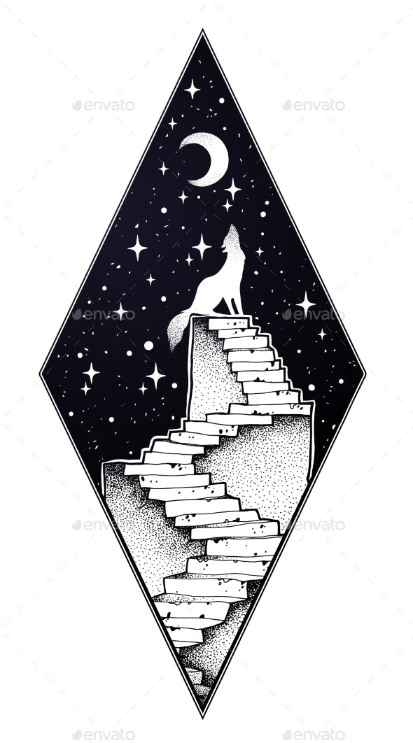 Abandoned Ruin Stairway with Howling Wolf