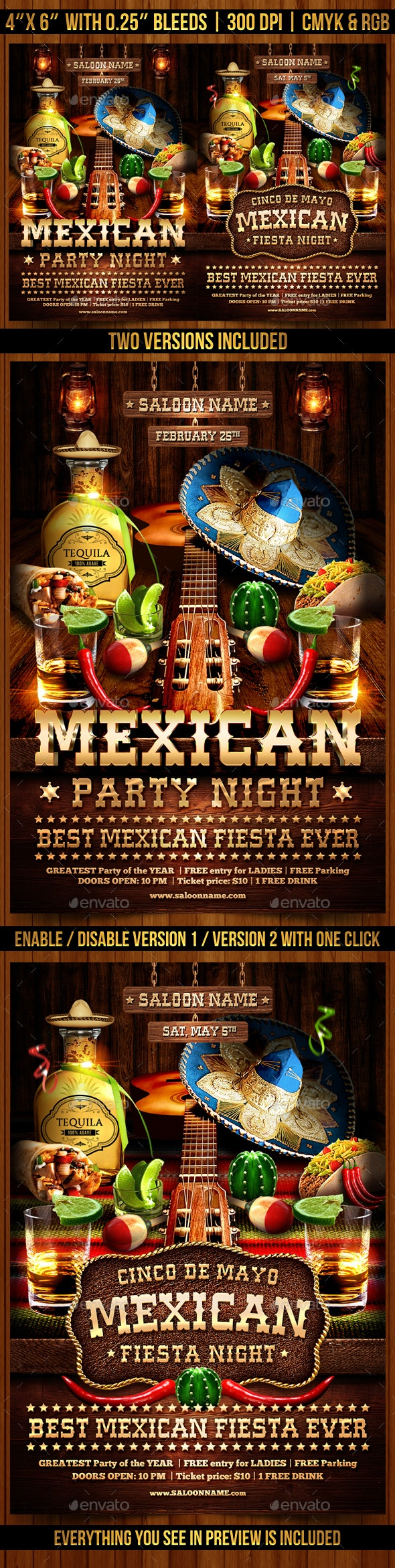 Mexican Party Flyer Template - Clubs & Parties Events
