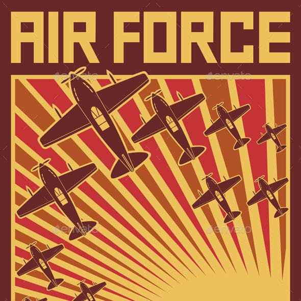 Air Force Attack Retro Poster