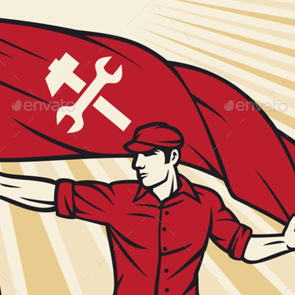 Worker With Flag Vector Illustration