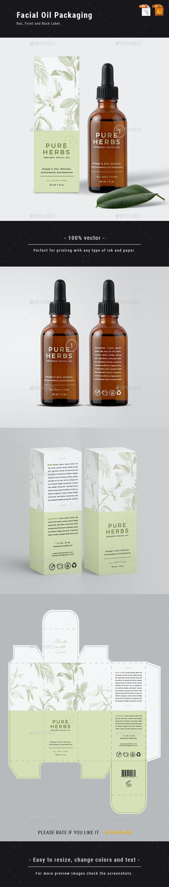 Organic Facial Oil Packaging - Packaging Print Templates