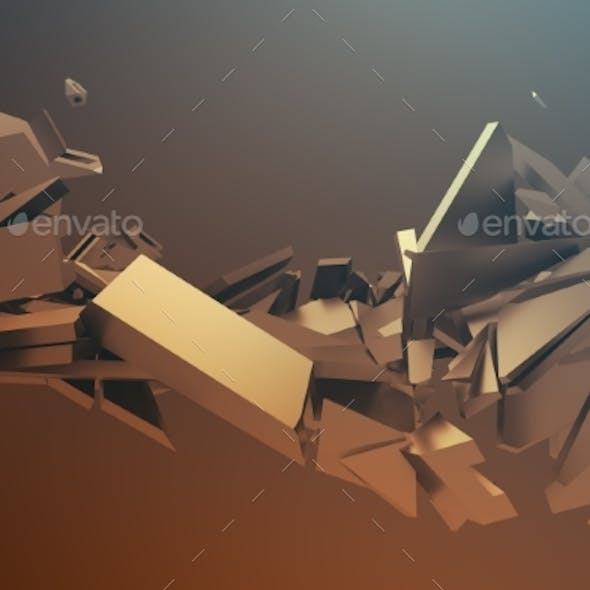 Abstract 3D Rendering. Cracked Surface.