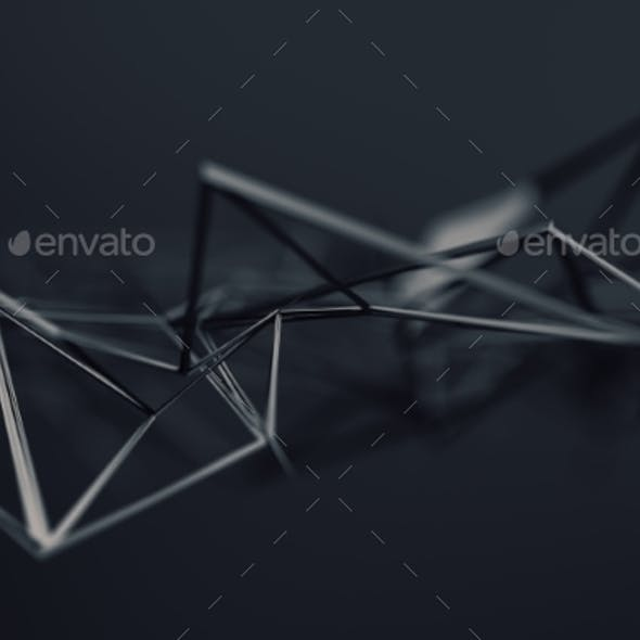 Abstract 3D Rendering. Polygonal Shape.