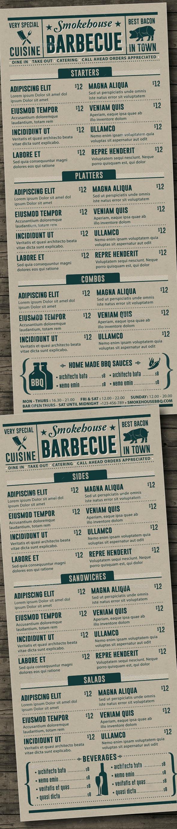 BBQ Menu Template - Food Menus Print Templates