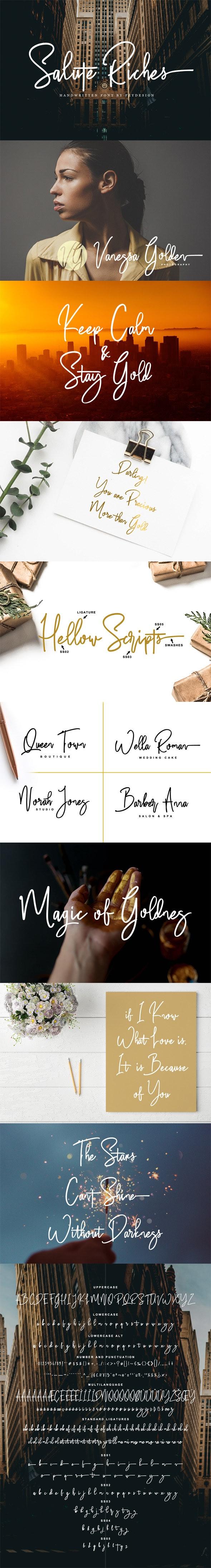 Salute Riches - Handwritten Font - Hand-writing Script