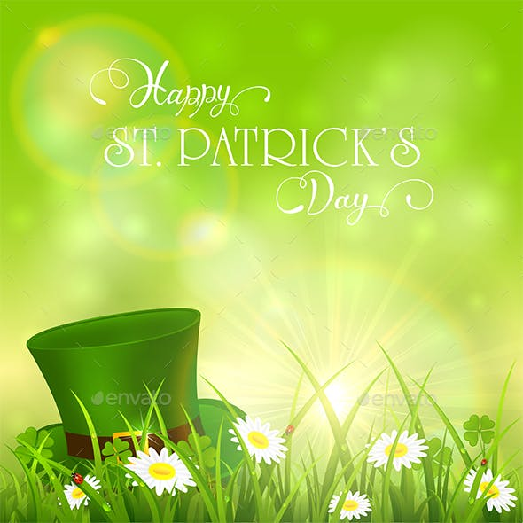Patrick Day Background and Green Hat in Grass